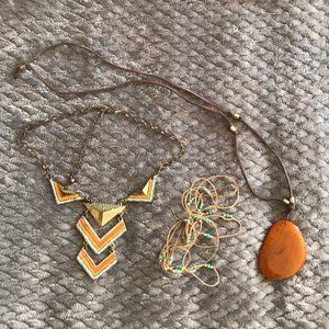 Jewelry - 3pc festival necklace bundle beaded chevron stone